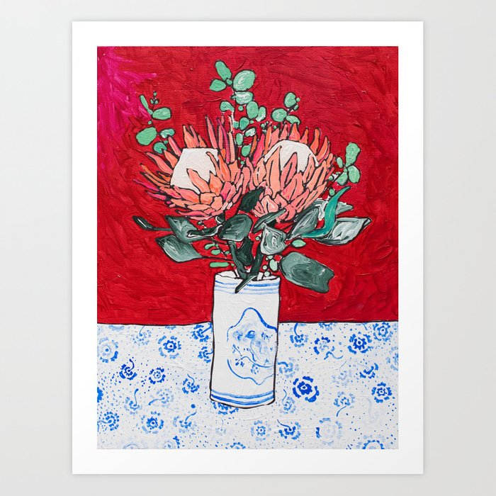 Delft Bird Vase of Proteas on Red Art Print