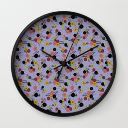 ditsy flowers on blue Wall Clock
