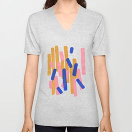 Colorful Minimalist Mid Century Modern Shapes Pink Ultramarine Blue Yellow Ochre Confetti Unisex V-Neck