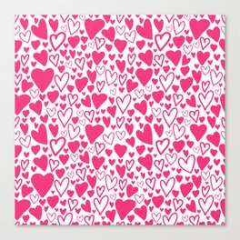 Pink hearts love Canvas Print