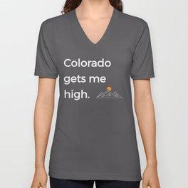 Native Colorado Gifts CO Flag Colorado Gets Me High Mountains Unisex V-Neck