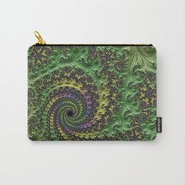 Spiraling Swirling Elegant Amazing Feather Psychedelic Fractal Art Green Purple Colorful Beautiful Carry-All Pouch