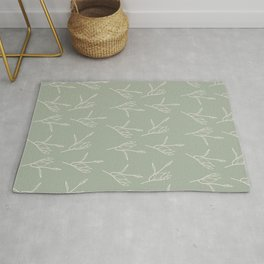 Line Art Flowers Sage Green Pattern Rug