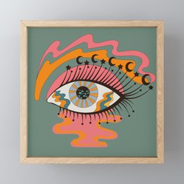 Cosmic Eye Retro 70s, 60s inspired psychedelic Framed Mini Art Print