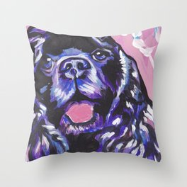 fun American Cocker Spaniel bright colorful Pop Art painting by Lea Throw Pillow