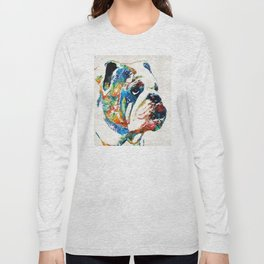 Bulldog Pop Art - How Bout A Kiss - By Sharon Cummings Long Sleeve T-shirt