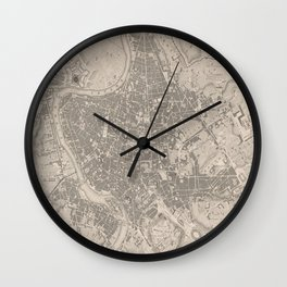 Vintage Map of Rome Italy (1841) Wall Clock