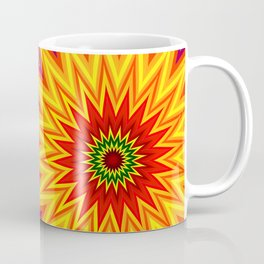 Fractal Sunflower Colorful Abstract Floral Coffee Mug
