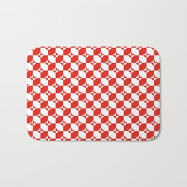 Small Red and White Canadian Maple Leaf Chess Board Bath Mat