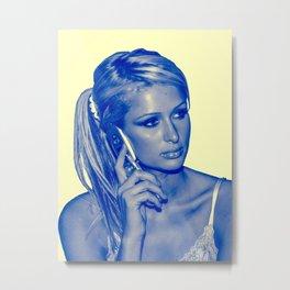 Paris Hilton on Phone Metal Print
