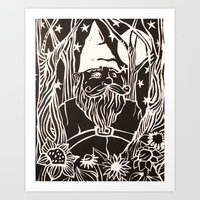 gnome Art Prints featuring Gnome by Aubree Eisenwinter