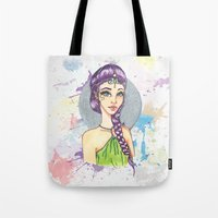 princess Tote Bags featuring Princess by Lagoonartastic