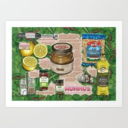 Hummus Recipe Art Print