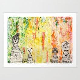 Girls in a Row Art Print