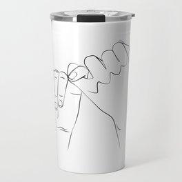promis juré , Pinky Swear , One Line Drawing Print, Black White Hands Artwork, Hand Poster Travel Mug
