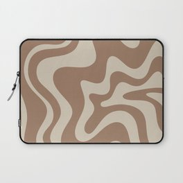 Liquid Swirl Contemporary Abstract Pattern in Chocolate Milk Brown and Beige Laptop Sleeve