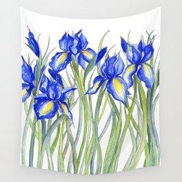 Blue Iris, Illustration Wall Tapestry