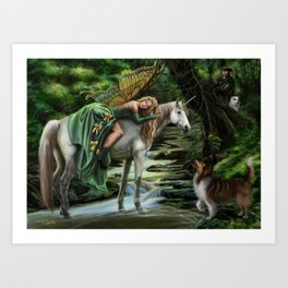 Sleeping Fairy on Unicorn Art Print