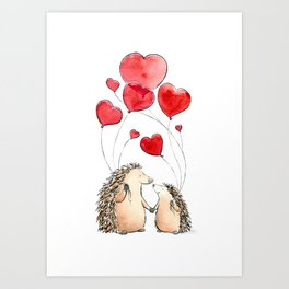 Hedgehogs in Love, illustration of hedgehog sweethearts with balloons. Art Print