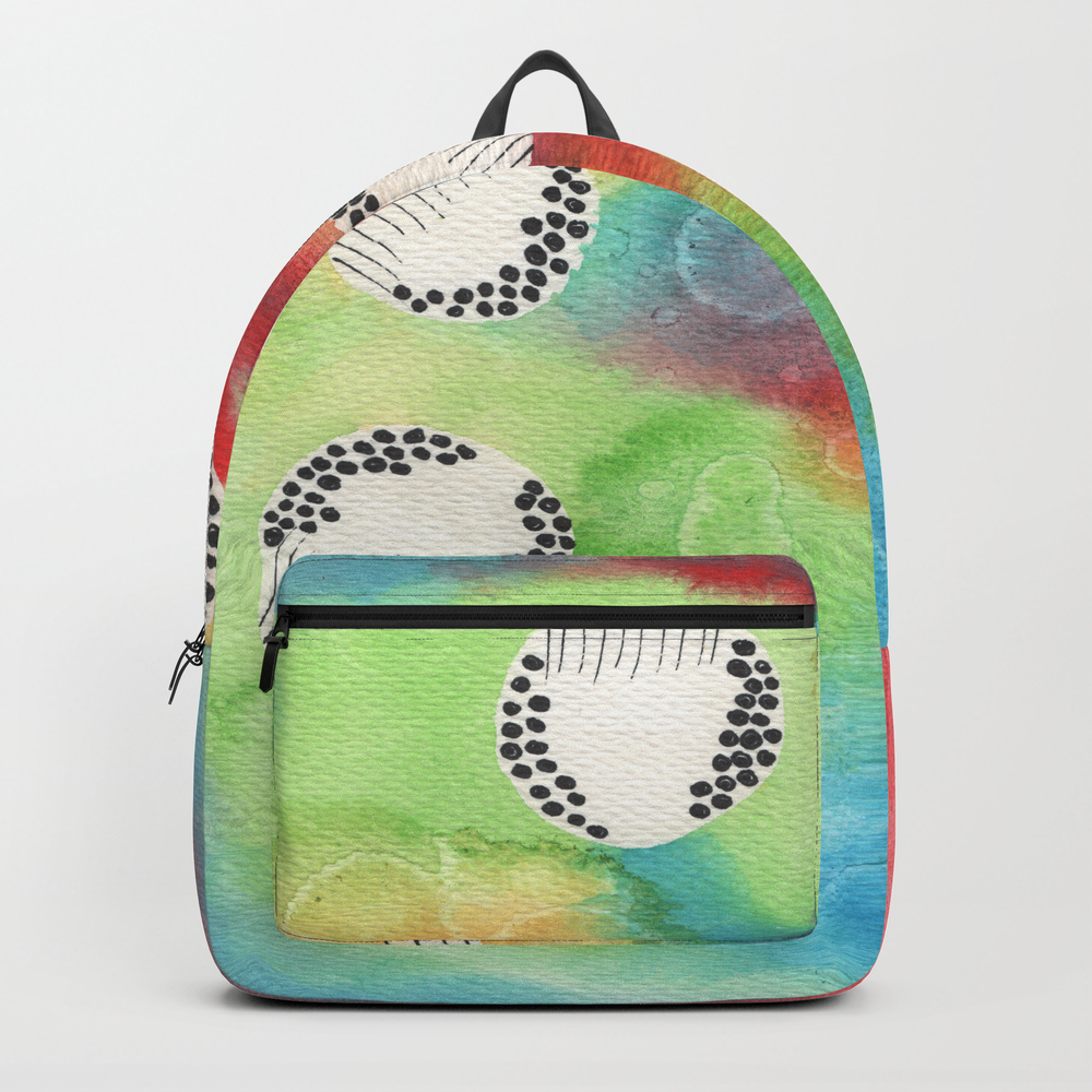 Watercolor Vibrant Abstract Painting Backpack by Kingaszumilas BKP8943922