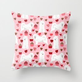 Samoyed valentines day dog portrait cute puppy dogs hearts love valentine for dog person Throw Pillow