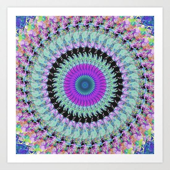 Spinning Colors Mandala Art Print