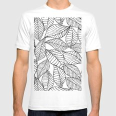 Leaves in black White MEDIUM Mens Fitted Tee