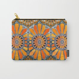 Celebrating the 70's - tangerine orange watercolor on grey Carry-All Pouch