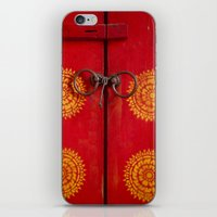 buddhism iPhone & iPod Skins featuring Temple Door by Maria Heyens
