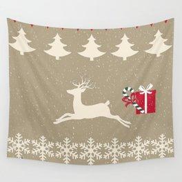 Rain deer Candy Cane - Cream Puff Wall Tapestry