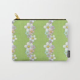 Wavy Floral on Green Carry-All Pouch