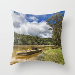 Pontoon on the Barron River Throw Pillow