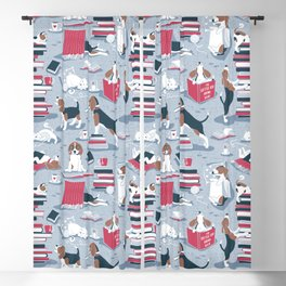 Life is better with books a hot drink and a friend // blue background brown white and blue beagles and cats and red cozy details Blackout Curtain