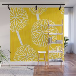 Pom Poms in Yellow by Friztin Wall Mural