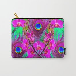 Pink Blue Green Peacock Feathers Lavender Orchid Patterns Art Carry-All Pouch
