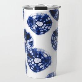 Shibori Kumo dots blue & white Travel Mug