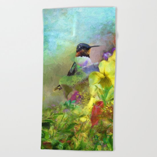 Hummingbird Bouquet Beach Towel