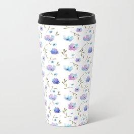 Blue watercolor flowers Metal Travel Mug