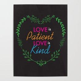 Love Is Heart Lettering Floral Design Poster
