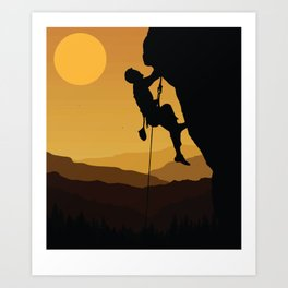 Retro Rock Climbing Bouldering 80s Mountain Rock Climber Art Print