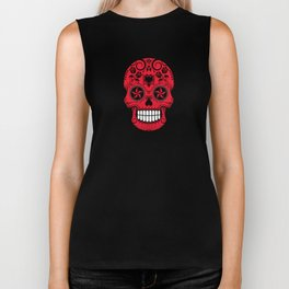 Sugar Skull with Roses and Flag of Albania Biker Tank