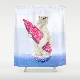 Polar bear & Surf (pink) Shower Curtain