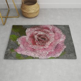 Pink Rose, Low Poly, Triangulated Rug