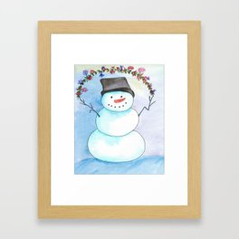 Watercolor Snowman With Floral Wreath Framed Art Print