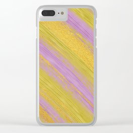 Colored Brush with Gold Foil 04 Clear iPhone Case