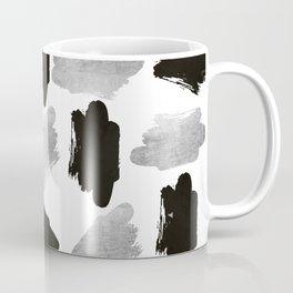 Black faux silver modern abstract brushstrokes Coffee Mug