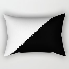 Contemporary black white colorblock lace stripe Rectangular Pillow