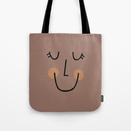 Winky Smiley Face in Brown Tote Bag