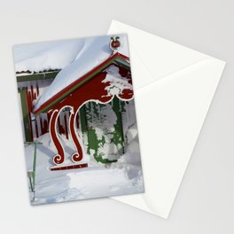 Swedish cabin in the snow Christmas Stationery Cards