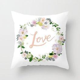 Love Pink Flower Wreath Throw Pillow